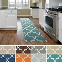 Hand-Tufted Clay Moroccan Tiled Wool Rug (2'3 x 12')