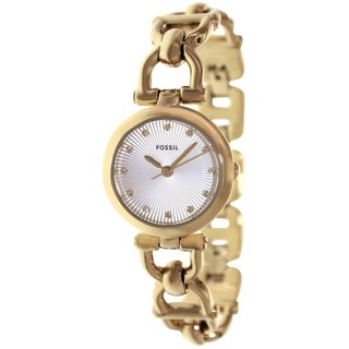 Fossil Women's Olive ES3349 Goldtone Stainless Steel Quartz Watch with Silvertone Dial