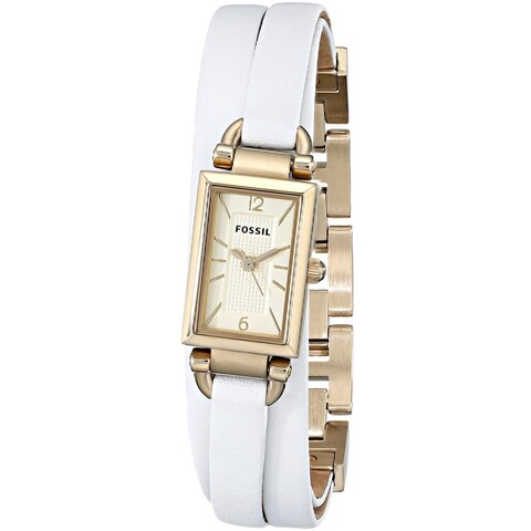 Fossil Women's Delaney White Leather Quartz Watch with Goldtone Dial