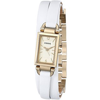 Fossil Women's Delaney JR1441 White Leather Quartz Watch with Goldtone Dial