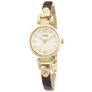 Fossil Women's Georgia ES3336 Brown Resin Quartz Watch with Goldtone Dial