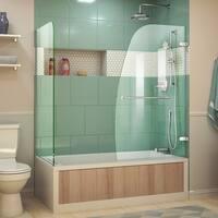 DreamLine Aqua Uno 56-60 in. W x 30 in. D x 58 in. H Frameless Hinged Tub Door with Return Panel