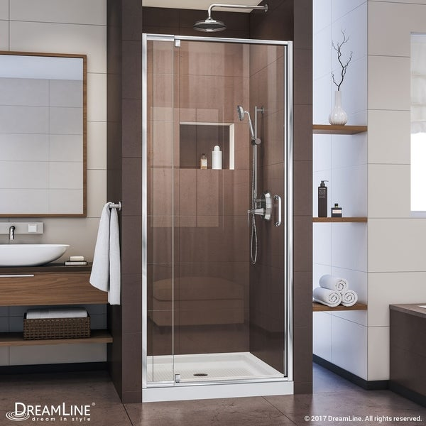 DreamLine Flex 32-36 in. W x 72 in. H Semi-Frameless Pivot Shower Door