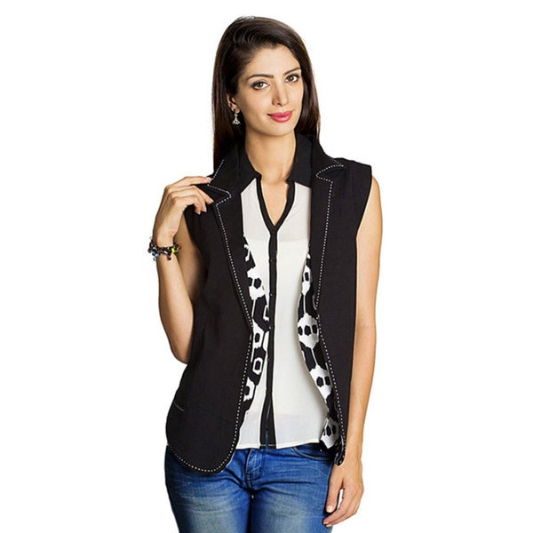 Handmade Mohr Women's Black Solid/ Printed Reversible Vest (India)