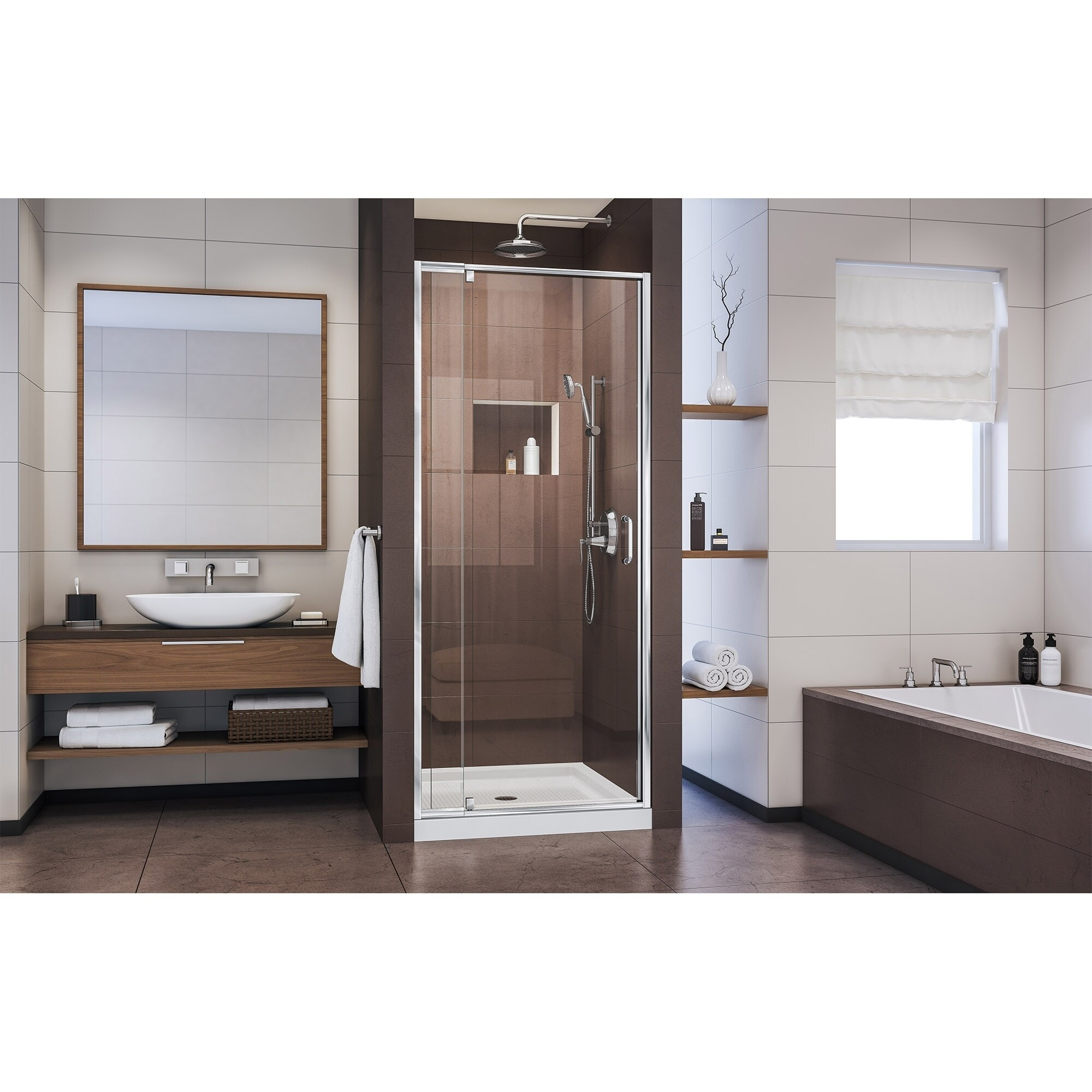 Dreamline Flex 28 32 In W X 72 In H Semi Frameless Pivot Shower Door 28 32 W