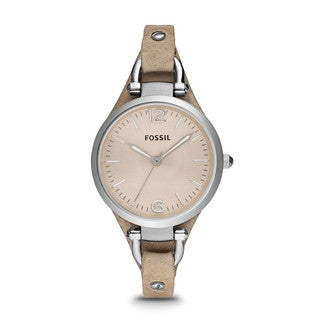 Fossil Women's Georgia ES2830 Beige Leather Analog Quartz Watch with Beige Dial - brown