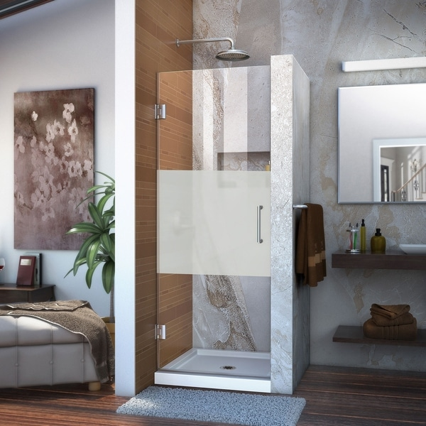 DreamLine Unidoor 24 in. W x 72 in. H Frameless Hinged Shower Door, Frosted Band Glass