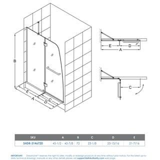 DreamLine Aqua 45.5 to 45.875 in. W x 72 in. H Hinged Shower Door