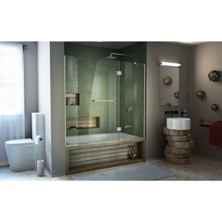 DreamLine Aqua 56-60 in. W x 58 in. H Frameless Hinged Tub Door with Extender Panel