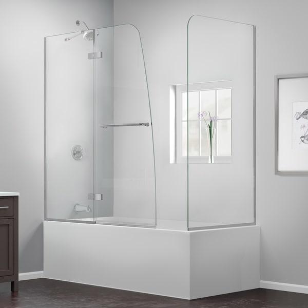 DreamLine Aqua Ultra 57-60 in. W x 30 in. D x 58 in. H Frameless Hinged Tub Door with Return Panel