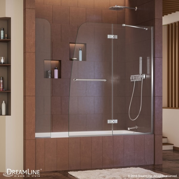 DreamLine Aqua Ultra 57-60 in. W x 58 in. H Frameless Hinged Tub Door with Extender Panel