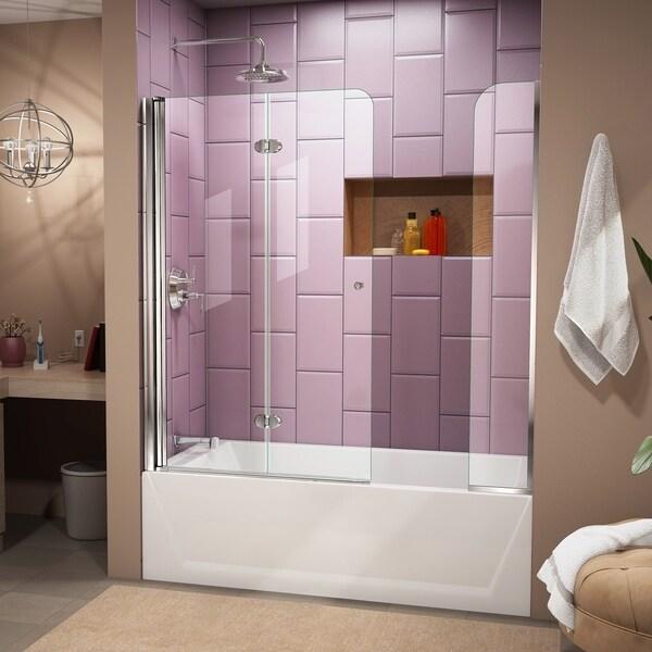 DreamLine Aqua Fold 56-60 in. W x 58 in. H Frameless Bi-Fold Tub Door with Extender Panel