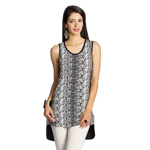 Handmade Mohr Women's Black/ White Printed-front Sleeveless Top (India)