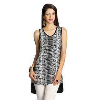 Handmade Mohr Women's Black/ White Printed-front Sleeveless Top (India)|https://ak1.ostkcdn.com/images/products/9199055/P16371175.jpg?impolicy=medium