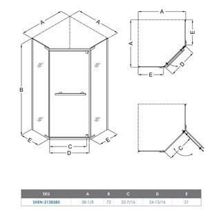 DreamLine Prism 38.125 in. W x 38.125 in. D x 72 in. H Pivot Shower Enclosure