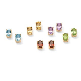PalmBeach 5.04 TCW Genuine Oval-Cut Gemstones Five-Piece Earrings Set in 18k over .925 Sterling Silver
