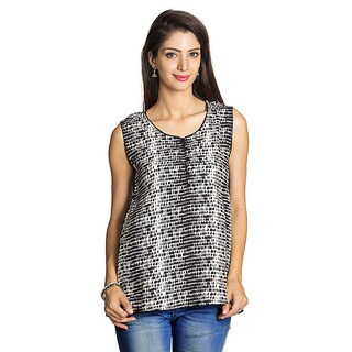 Handmade Mohr Women's Black/ Off-white Printed Sleeveless Tunic (India)