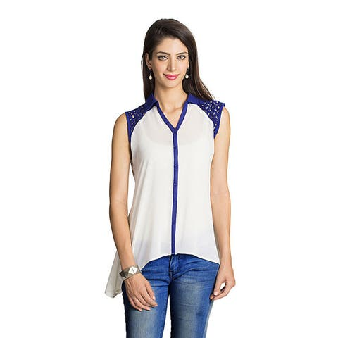 Handmade Mohr Women's Off-white Asymmetrical Sleeveless Top (India)