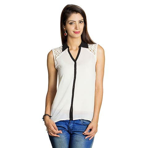 Handmade Mohr Women's Lace Embellished Sleeveless Top (India)