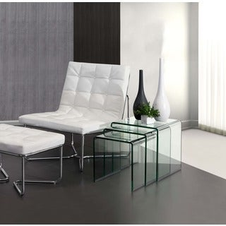 Zuo Explorer Clear Glass Nesting Table
