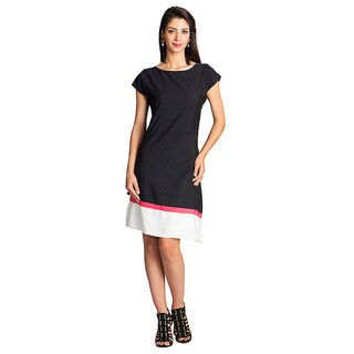 Handmade MOHR Women's Black Cap-sleeve Colorblock Dress (India)