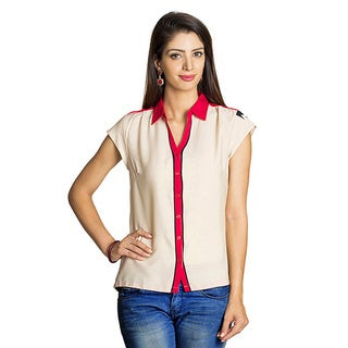 Handmade MOHR Women's Beige Abstract Colorblock Top (India)