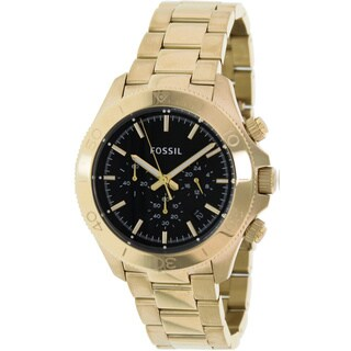 Fossil Men's Retro Traveler CH2861 Goldtone Stainless Steel Quartz Watch with Black Dial