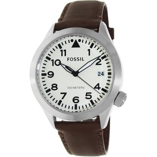Fossil Men's Aeroflite AM4514 Brown Leather Quartz Watch with Beige Dial