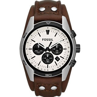 Fossil Men's Coachman Chronograph Cream Dial Brown Leather Watch