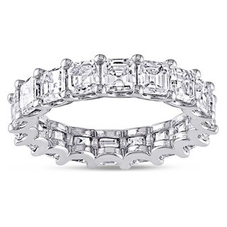 Miadora 18k White Gold 5ct TDW Certified Asscher-cut Diamond Eternity Ring