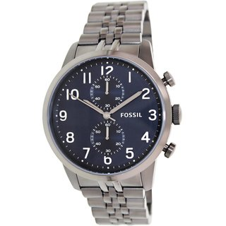 Fossil Men's Townsman FS4894 Grey Stainless-Steel Quartz Watch with Black Dial