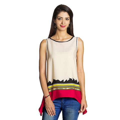 Handmade MOHR Women's Beige Sleeveless Abstract Shirt (India)