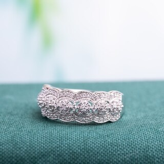Miadora Signature 10k White Gold 1/2ct TDW Diamond Vintage Floral Anniversary Band (More options available)