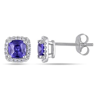 Miadora 10k White Gold Violet Cubic Zirconia and 1/10ct TDW Diamond Stud Earrings (H-I, I2-I3)