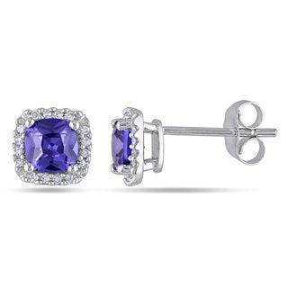 Miadora 10k White Gold Violet Cubic Zirconia and 1/10ct TDW Diamond Stud Earrings (H-I, I2-I3)
