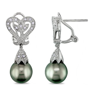 Miadora Sterling Silver Tahitian Pearl and Diamond Accent Earrings (10-10.5 mm)