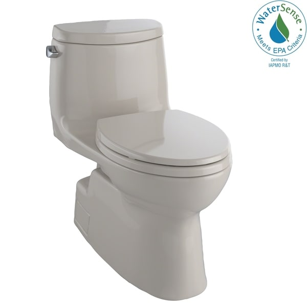 Toto Carlyle II One-Piece Elongated 1.28 GPF Universal Height Skirted Toilet with CeFiONtect, Bone (MS614114CEFG#03)