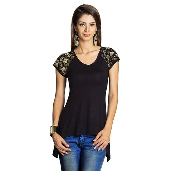 MOHR Women's Hand-embroidered Black Knit Hi-low Shirt (India)