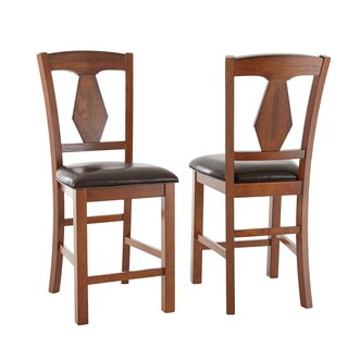 Greyson Living Lansing Medium Oak and Leatherette Counter-height Dining Chairs (Set of 2)
