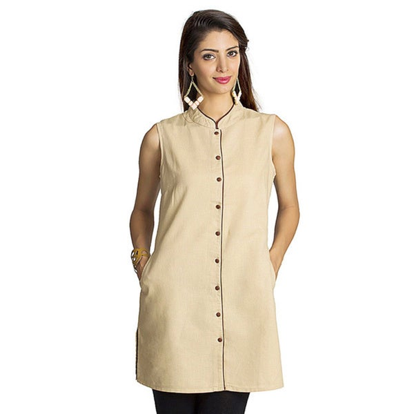 9f7c3fabe4 Shop Handmade MOHR Women's Beige Mandarin Collar Tunic Shirt (India ...