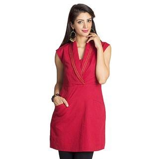 Handmade MOHR Women's Dark Red Shawl-collar Tunic (India)