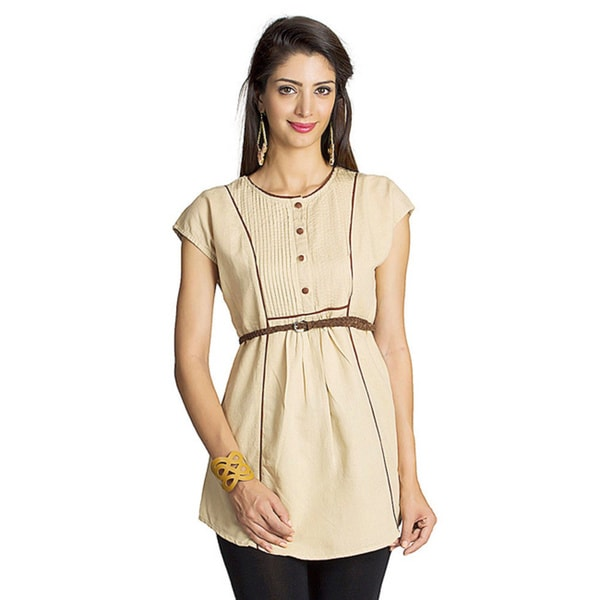 MOHR Women's Beige Cap-sleeve Contrast Piping Tunic (India)