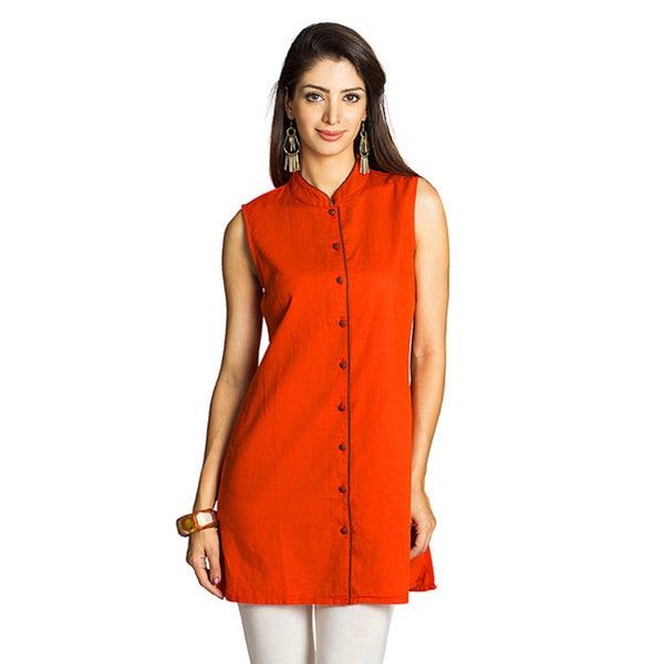 MOHR Women's Dark Orange Mandarin Collar Tunic Shirt (India)