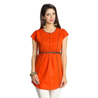 MOHR Women's Dark Orange Cap-sleeve Contrast Piping Tunic (India)
