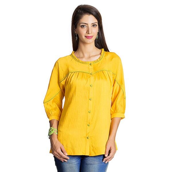 Handmade MOHR Women's Dark Yellow Tunic Shirt with Kimono Sleeves (India)