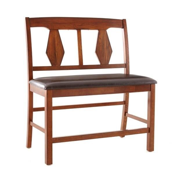 living lansing burnished medium oak counter height dining bench