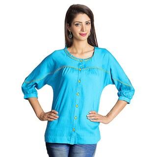 Handmade MOHR Women's Blue Kimono Sleeve Tunic (India)