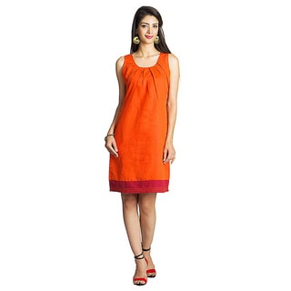 Handmade MOHR Women's Dark Orange Pleated Neckline Sleeveless Dress (India)