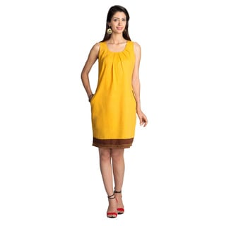 Handmade MOHR Women's Dark Yellow Pleated Neckline Sleeveless Dress (India)