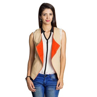 MOHR Women's Beige/ Orange Reversible Vest (India)
